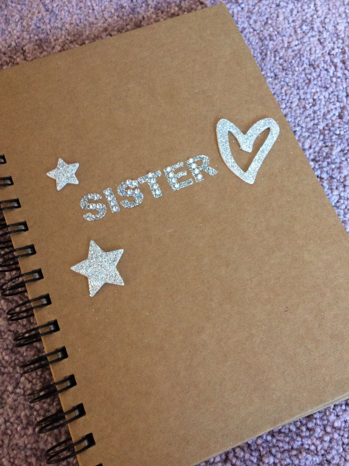 Note Book Brown Lined Paper A5 Daughter School Collage Sister Gift Christmas Writing Handmade Glitter Gold By Loveartsgifts On Etsy