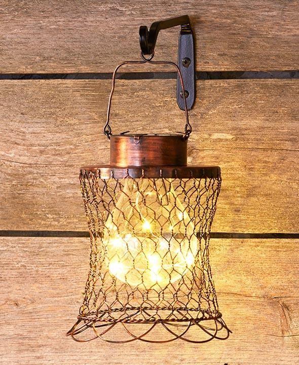 Chicken Wire Lantern Solar Hanging Rustic Primitive