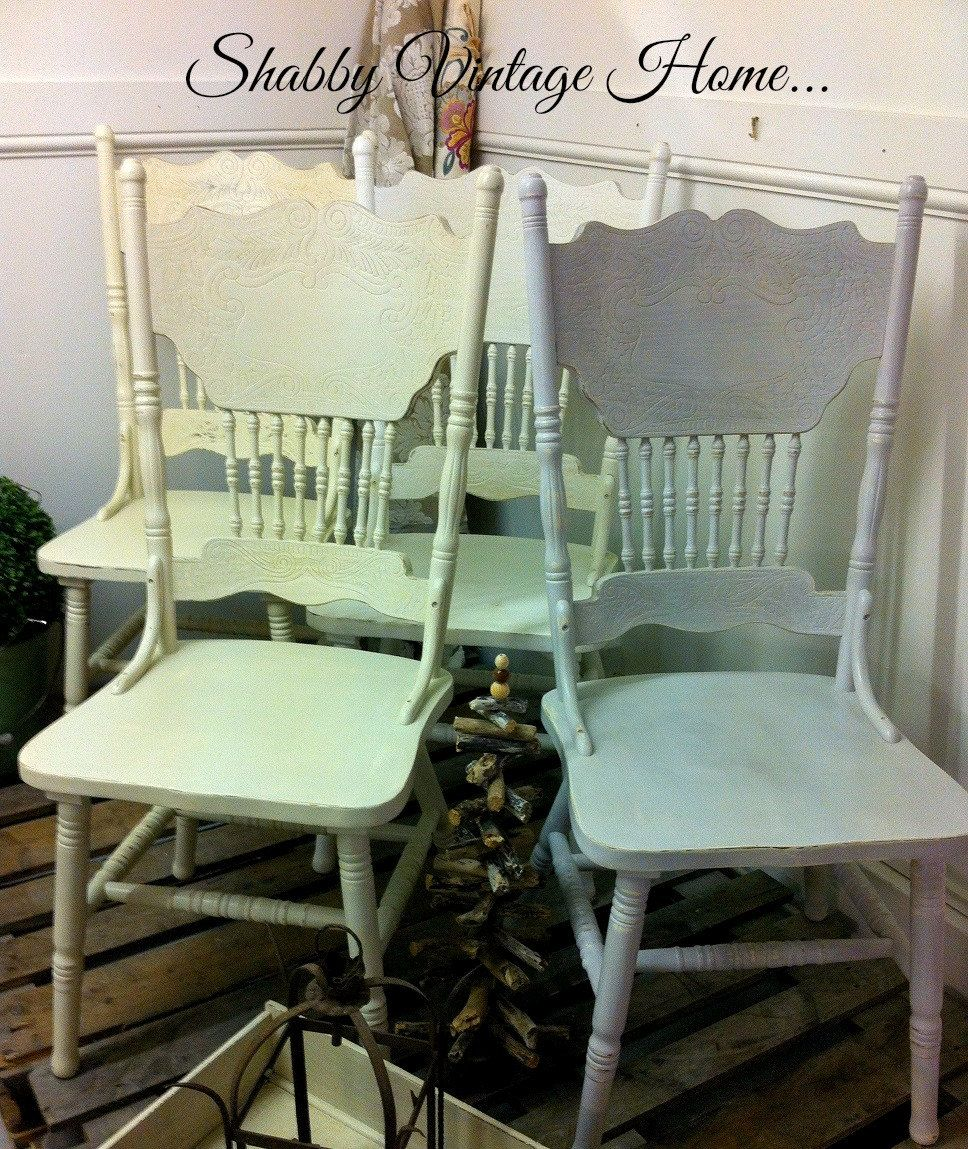 Genial Shabby Vintage Set Of Four French Country Reproduction American Colonial  Press Back Dining Chairs By MyVintageGirls