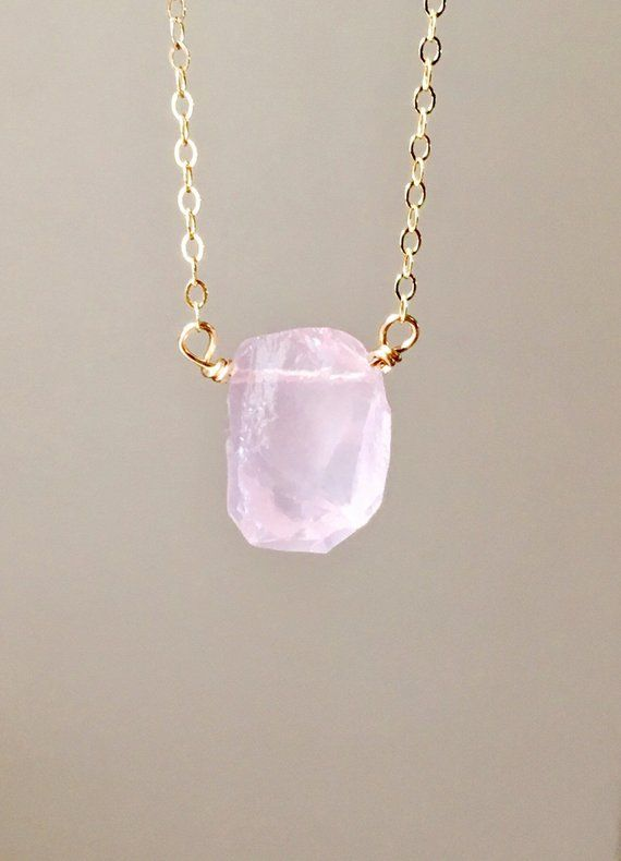 Raw Rose Quartz Necklace - Jewelry Gift For Her - Stone Necklace - Dainty Crystal Healing Gemstone - Rose Gold - Gold - Silver