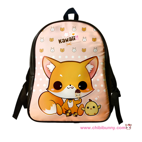 Cute kawaii fox - Leather backpack - LBP8  42d836de56cf