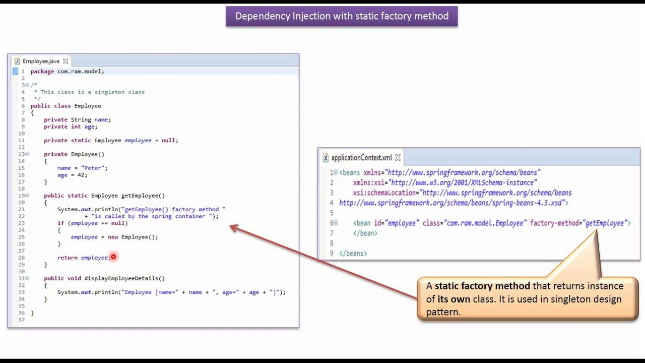 What Is Spring Dependency Injection With Static Factory Method