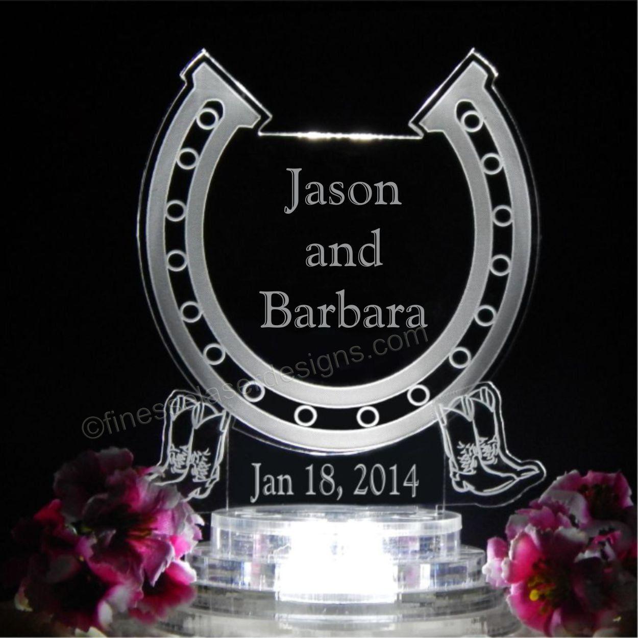 Western horseshoe lighted wedding cake topper w names acrylic cake