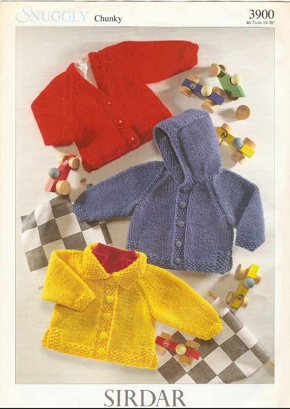 Vintage Pdf Baby Knitting Pattern Sirdar 3900 Cardigan Instant