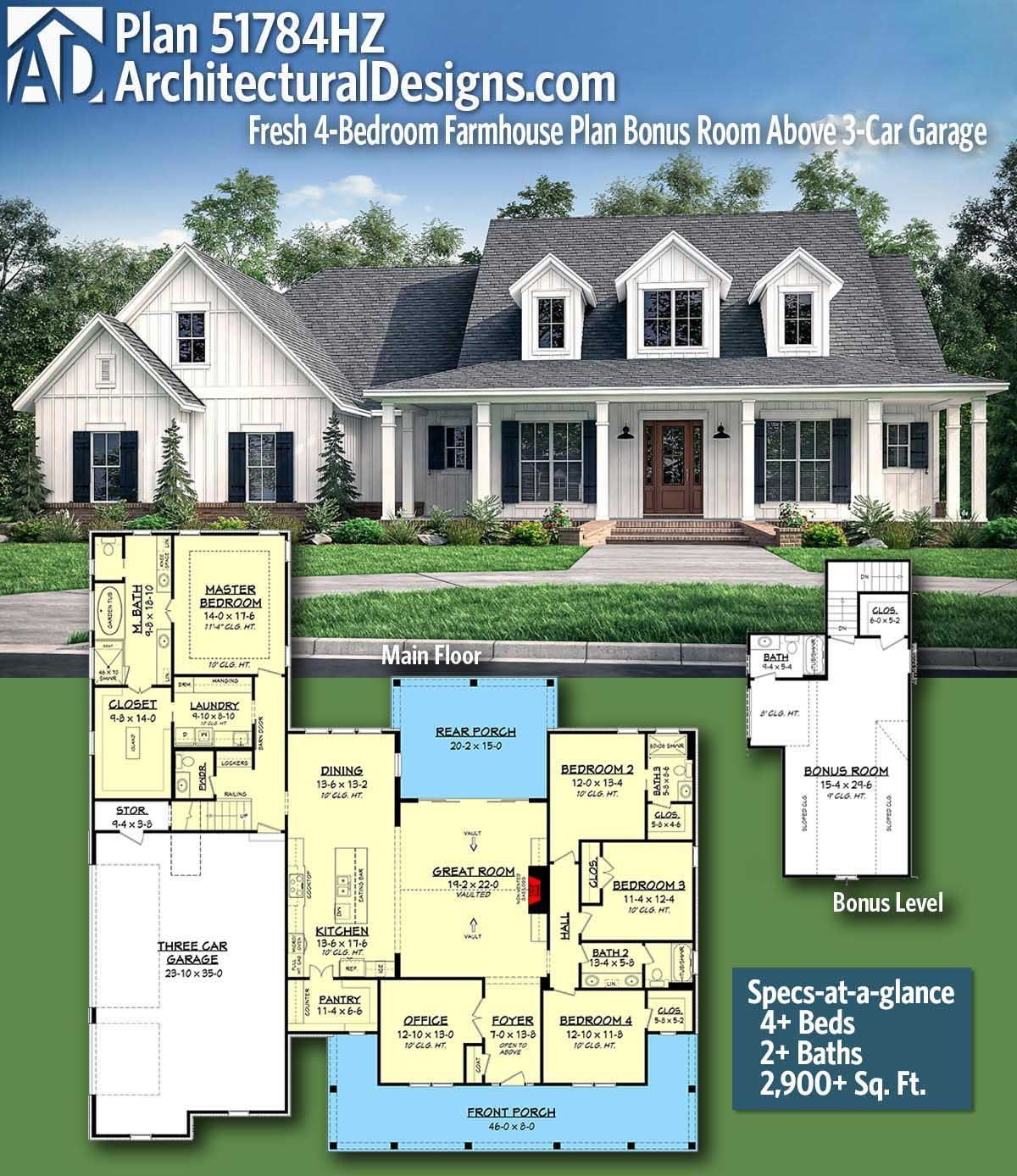 Plan 51784hz Fresh 4 Bedroom Farmhouse Plan With Bonus Room Above 3 Car Garage Farmhouse Plans House Plans Farmhouse Dream House Plans