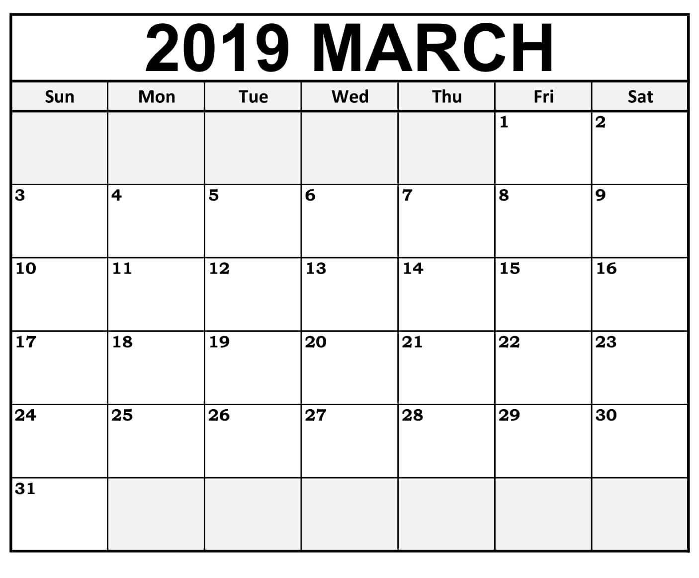 Blank March 2019 Calendar Landscape Format Calendar 2019