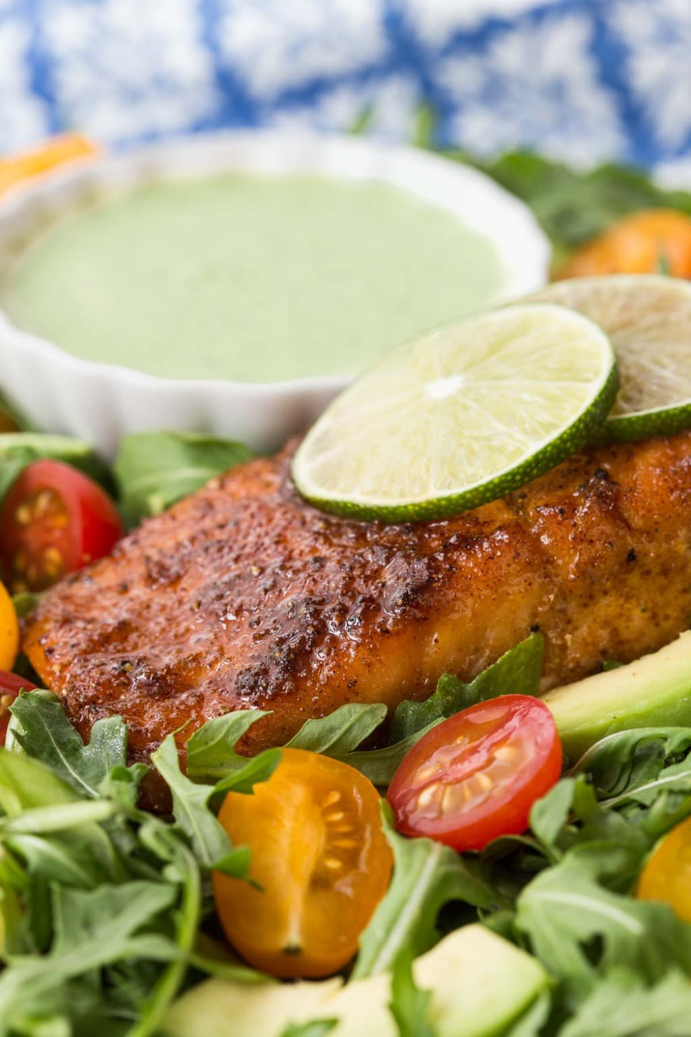 This Mexican Sugar-Seared Salmon Salad is one of our favorite meals ever. Use the easy, healthy salmon recipe in lots of other ways too! #easydinnerideas, #healthydinners, #salmon #immuneboostingfood