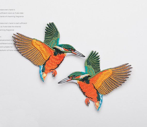 Embroidery Little Bird Pattern Appliques Adhesives Embroidered