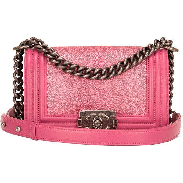 Preowned Chanel Metallic Pink Stingray Small Boy Bag 7 850