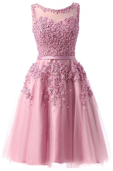 Nett Rosa 2019 Homecoming Kleider A-linie Cap Sleeves Knie Länge Tüll Spitze Perlen Elegante Cocktail Kleider Weddings & Events