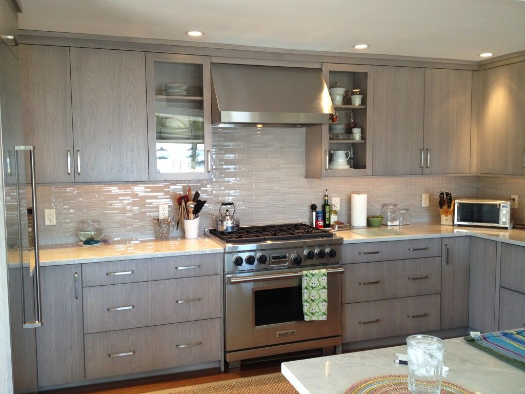 Contemporary Kitchen With Unglazed Federal Grey Painted Oak Plain And Fancy Cabinets White Gl Tiles