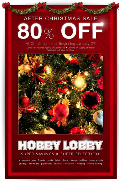 hobby lobby christmas clearance now marked 80 off