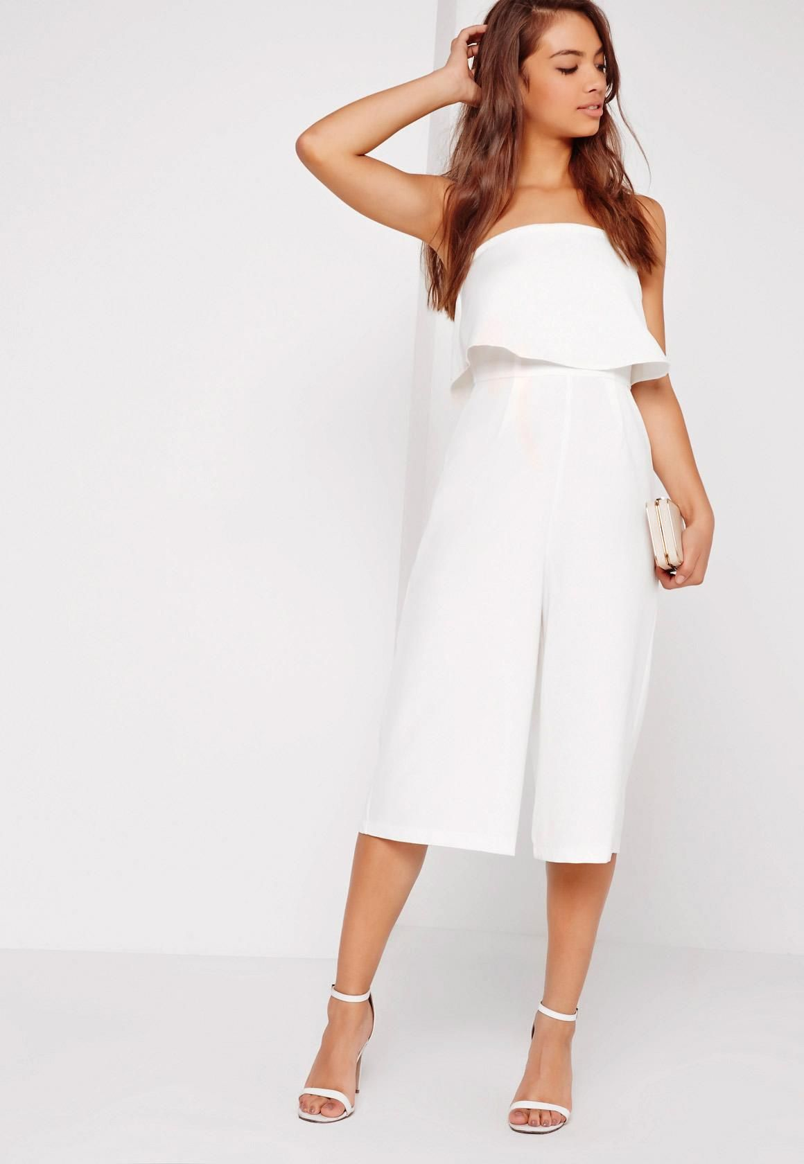 524f518459f6 Crepe Double Layer Culotte Jumpsuit White