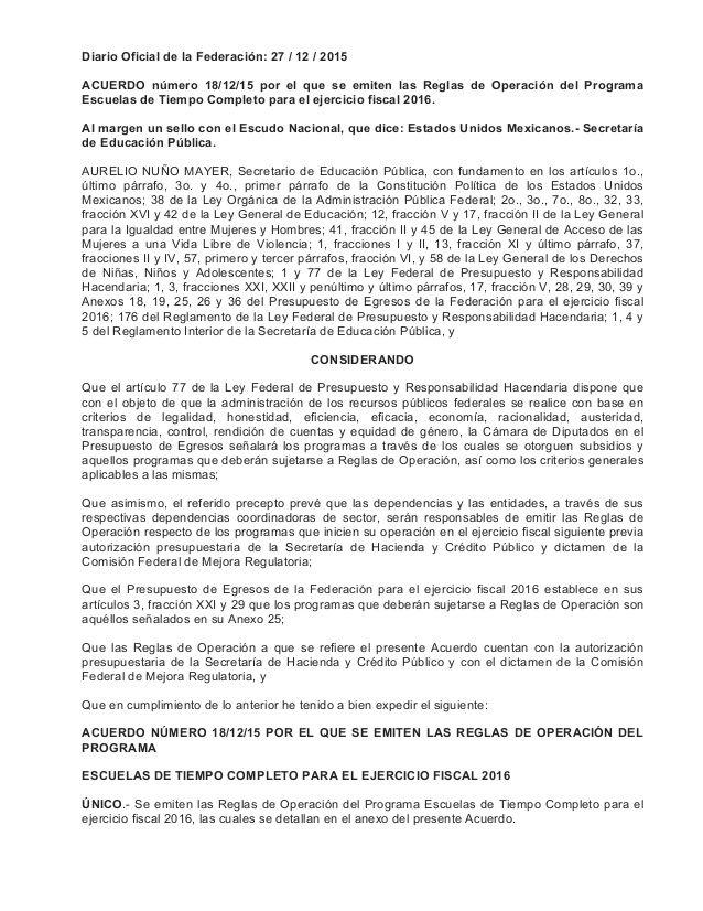 Diario Oficial de la Federación: 27 / 12 / 2015 ACUERDO número 18/12/15 por el…