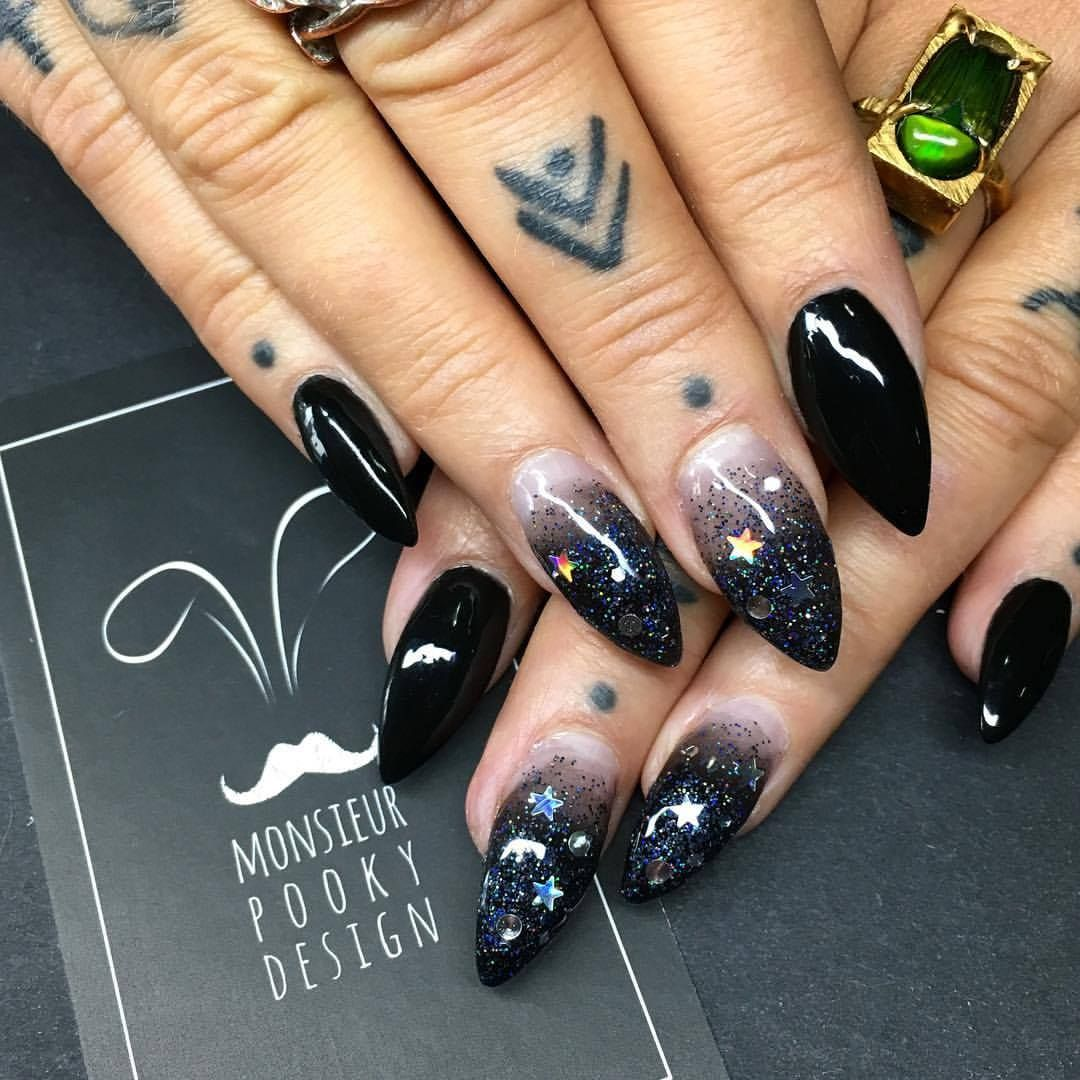 Beautiful Black Glitter Nails Halloween Nails Witch Nails By Monsieur Pooky Design Black Nails With Glitter Witchy Nails Witch Nails