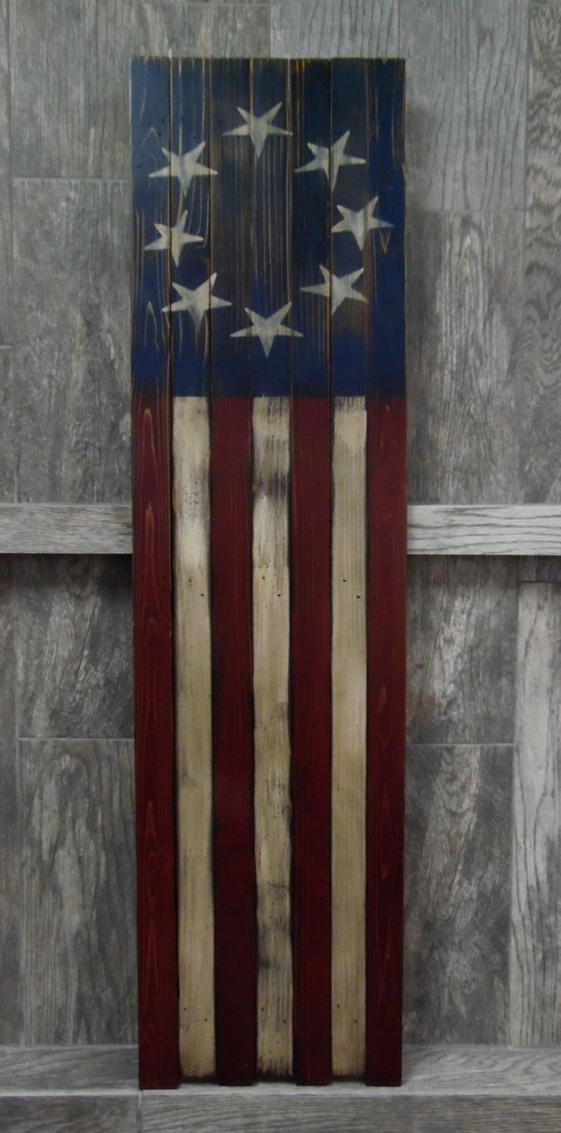 Primitive Vertical American Flag Or Horizontal American Flag Etsy In 2020 American Flag Wood American Flag Painting Rustic Flags