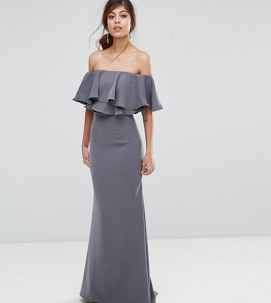 b92dd70ad722 Jarlo Off Shoulder Maxi Dress With Frill Top - Gray