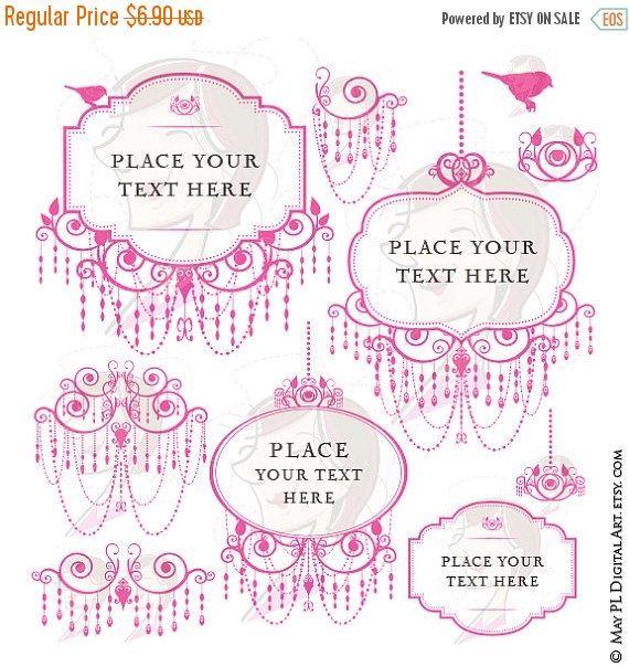 SALE Chandelier Retro Frames Pink Silhouette Elegant Ornate Border Png Files Cardmaking Wedding Invites Scrapbook Craft Clip Art 1049