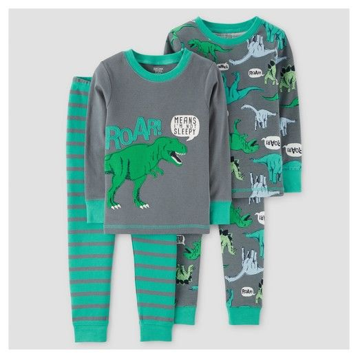 Just One You by carter/'s Baby Boys/' 4pc Dino Pajama Set green Navy