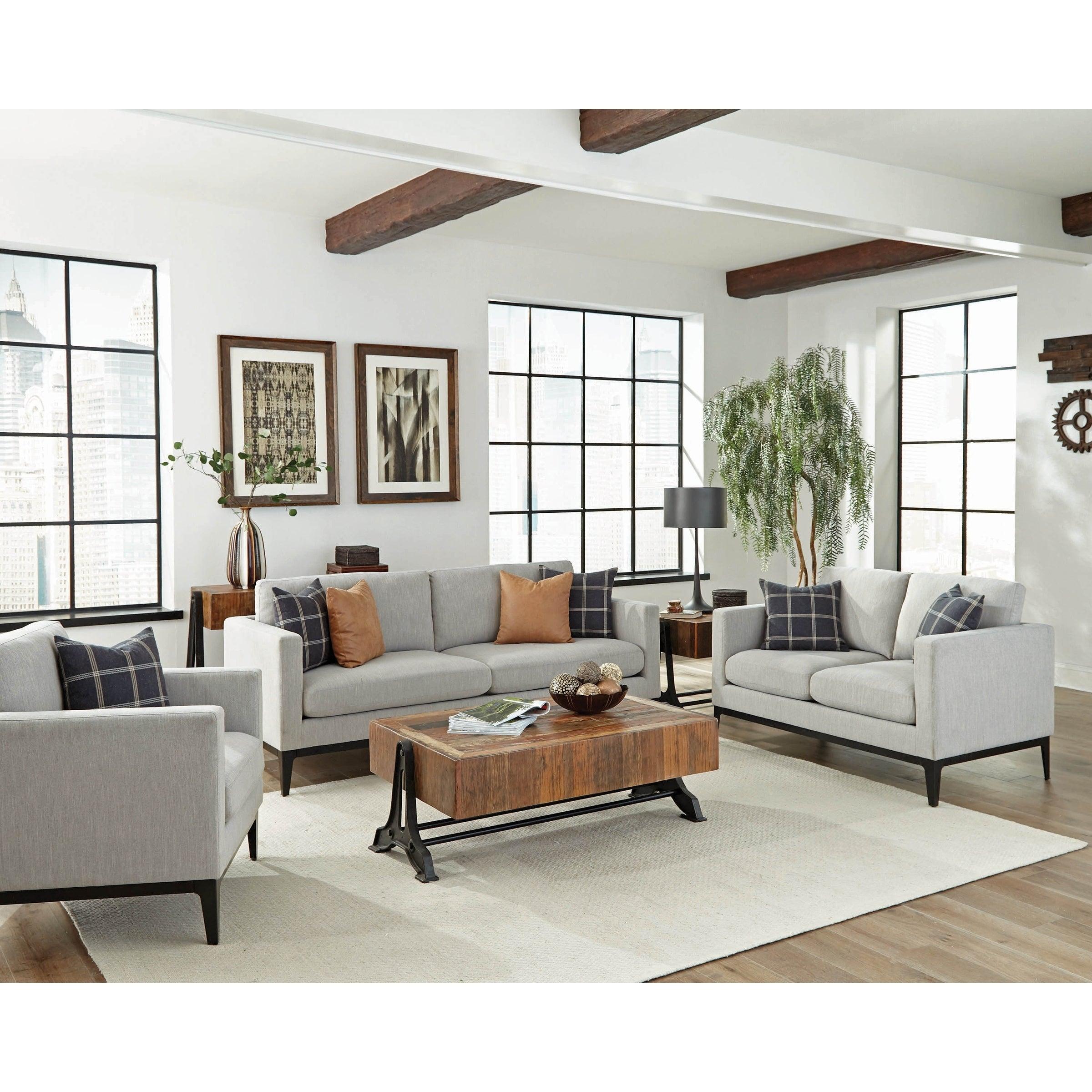 Kingsley Grey 3 Piece Track Arm Living Room Set Black Living Room Sofa Modern Furniture Living Room