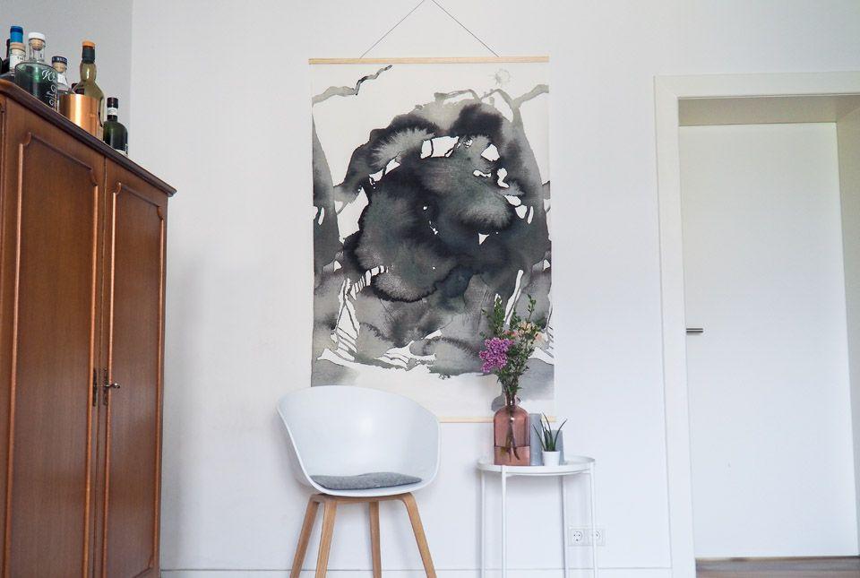 Diy ikea hack aquarell wandbild klavier deko - Wandbilder aus stoff ...