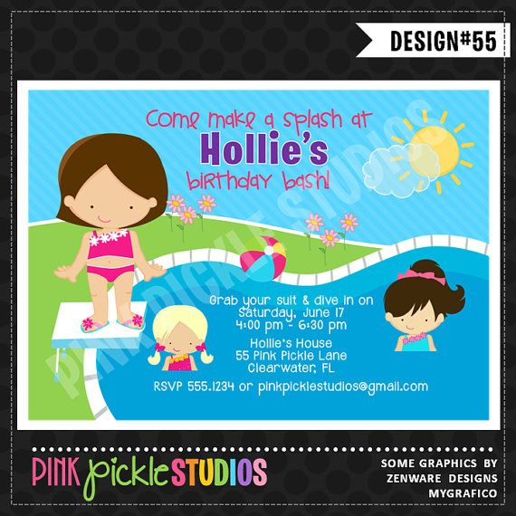 Greeting Cards Invitations Personalised Boys Swimming