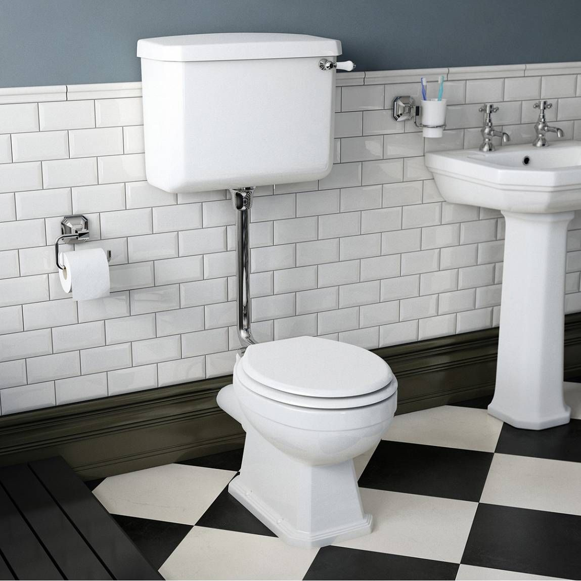 Bathroom Accessories Victoria Plumb regency low level toilet inc luxury white mdf seat - victoria