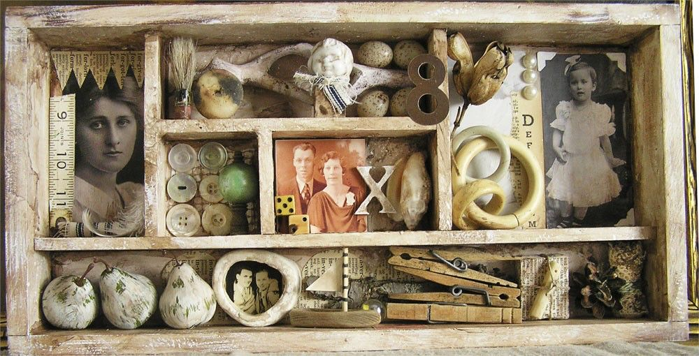 SALE Shabby Mixed Media Assemblage Memory Box by icondesign on Etsy https://www.etsy.com/listing/63066794/sale-shabby-mixed-media-assemblage