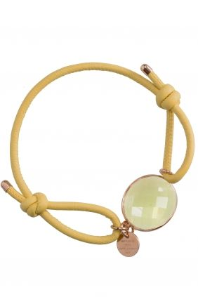 iris I #yellow leather bracelet with faceted calcedony I designed by marjana von berlepsch I NEWONE-SHOP.COM