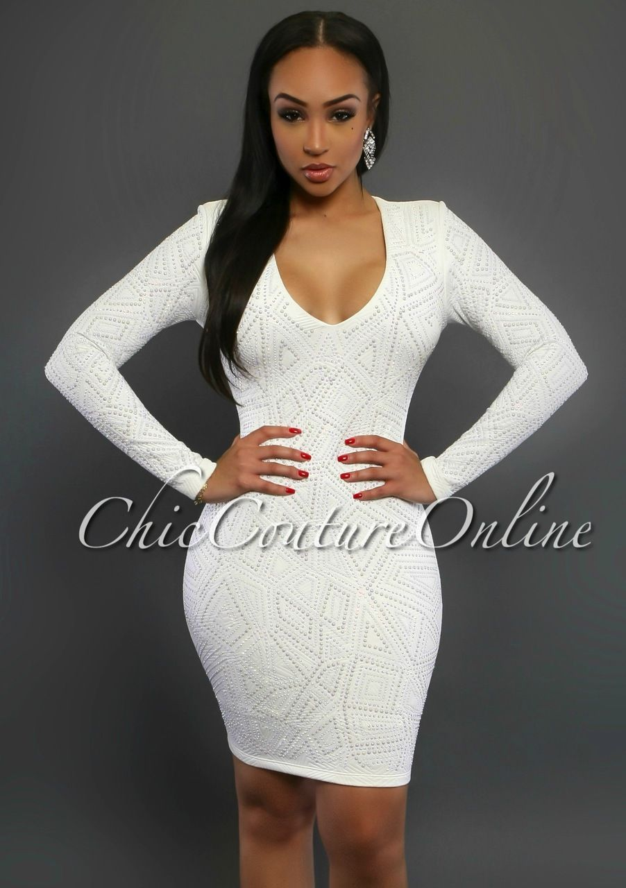 Chic Couture Online - Jayce White Jeweled Long Sleeves Dress, (http://www.chiccoutureonline.com/jayce-white-jeweled-long-sleeves-dress/)