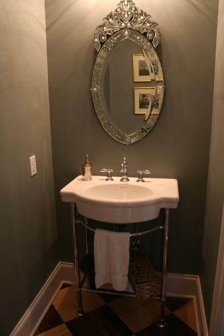 Paint Bathrooms Benjamin Moore Sea Pine American Standard Retrospect Console Table Sink Gray Walls Venetian Mirror Powder Room With