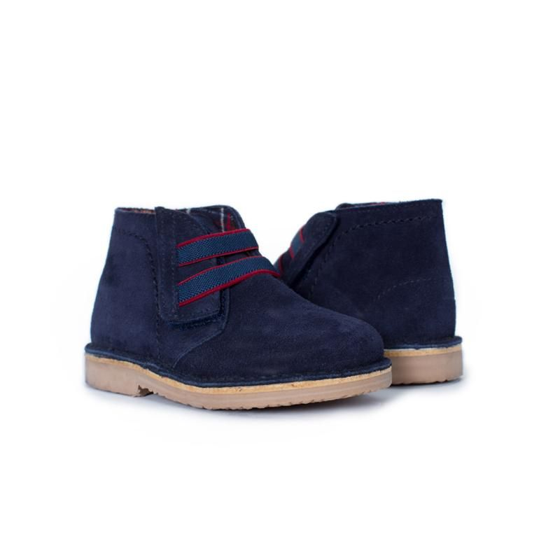 bedc45d9765 Navy Suede Chukka Boots with Elastic Laces