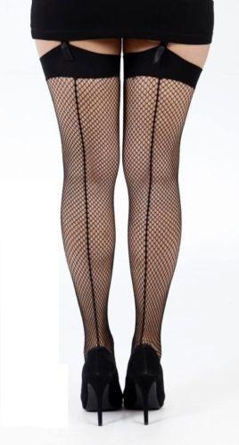 8df6f32000a Fuller Figure Plus Size Plain Top Backseam Fishnet Stockings