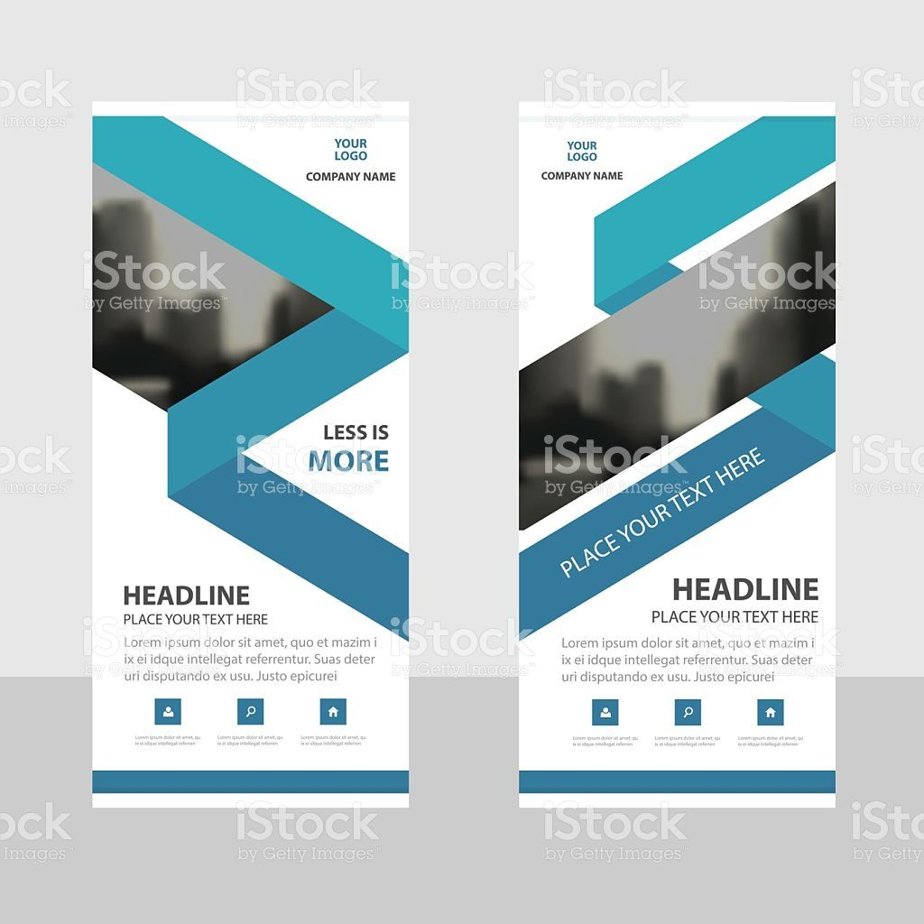 Blue triangle Business Roll Up Banner flat design template ...