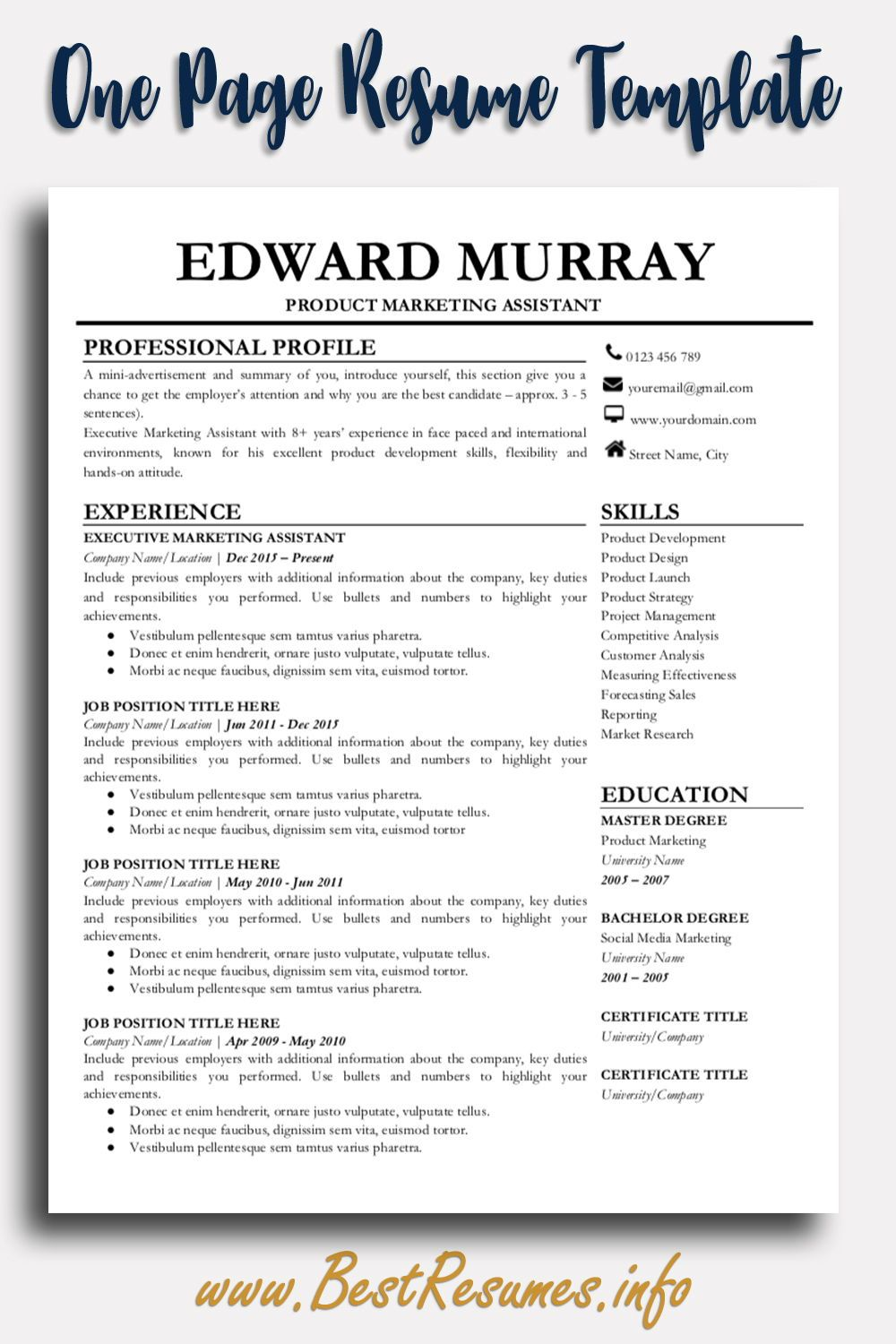 Professional Resume Template Edward Murray - Resume template professional, Job resume template, Teacher resume template, Job resume, Business resume template, Resume template - Resume Template Edward Murray  Easy to edit modern resume template for Google Docs  Downloadable resume templates with clean resume design and layout!