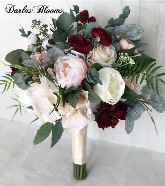 Wedding bouquet, Blush & Burgundy Bridal bouquet, Silk wedding flowers, Faux bouquet, Blush and burgundy wedding flowers, Bridesmaid bouquet #silkbridalbouquet