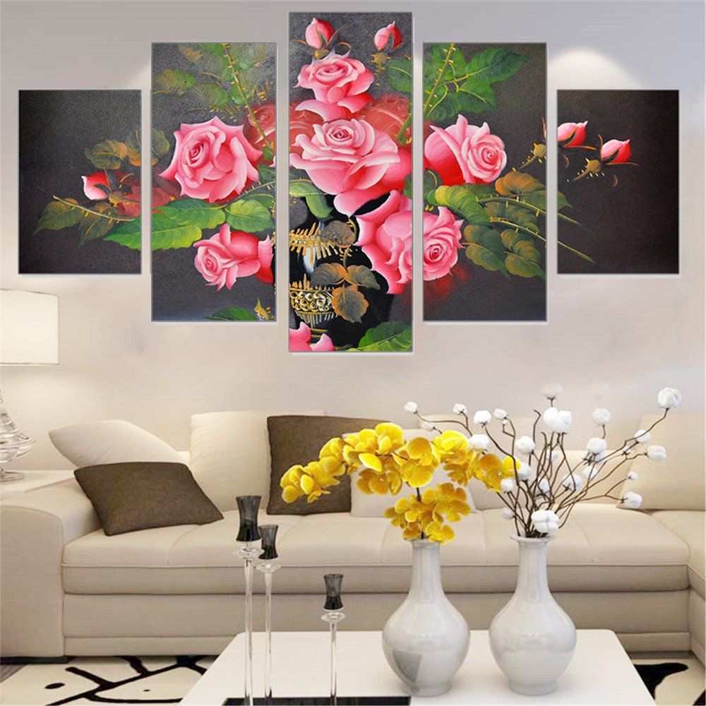 Wall art for home - Modular Oil Painting Frameless Rose Flowers Wall Art Poster Canvas Picture Home Decoration Print On Canvas For