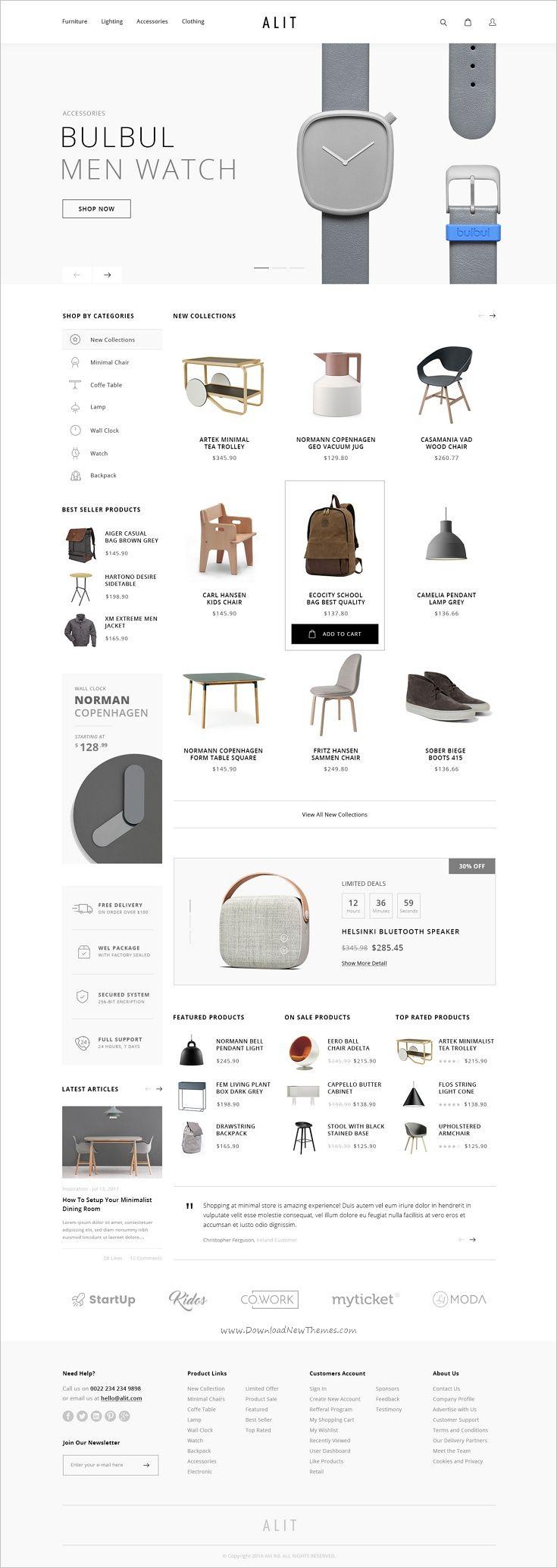 Alit - Minimalist eCommerce PSD Template   Ecommerce websites, Psd ...