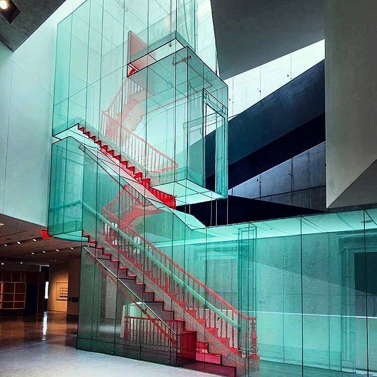 Best This Bright Red Staircase Enclosed In Glass Is Just 400 x 300