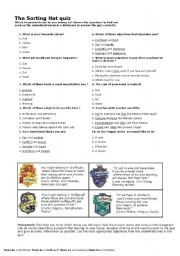 English Worksheet The Sorting Hat Quiz Harry Potter