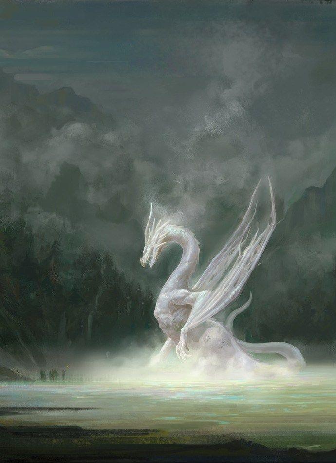 White Dragon Yan Chenyang Il Etait Une Fois Perdue Au Milieu D Un Ocean Infini Une Ile De La Tail Images De Dragons Dragon Fantastique Art A Theme Dragon