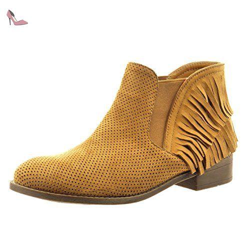 21f39f601e3 Sopily - Chaussure Mode Bottine chelsea boots Cheville femmes frange  perforée Talon bloc 3 CM - Camel - CAT-9-WD1714 T 36  Amazon.fr  Chaussures  et Sacs