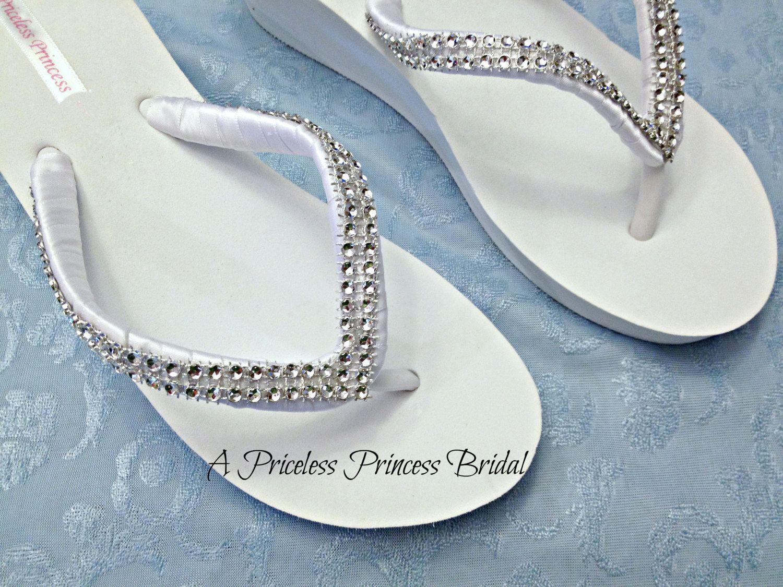 9bb9c6691 Wedding Flip Flops - Bridal Wedge Flip Flops - Bridal Sandals ...