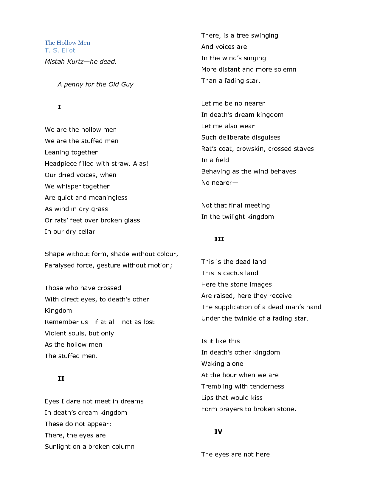 We are the hollow men | Poems | Pinterest | T..., We and Favourite