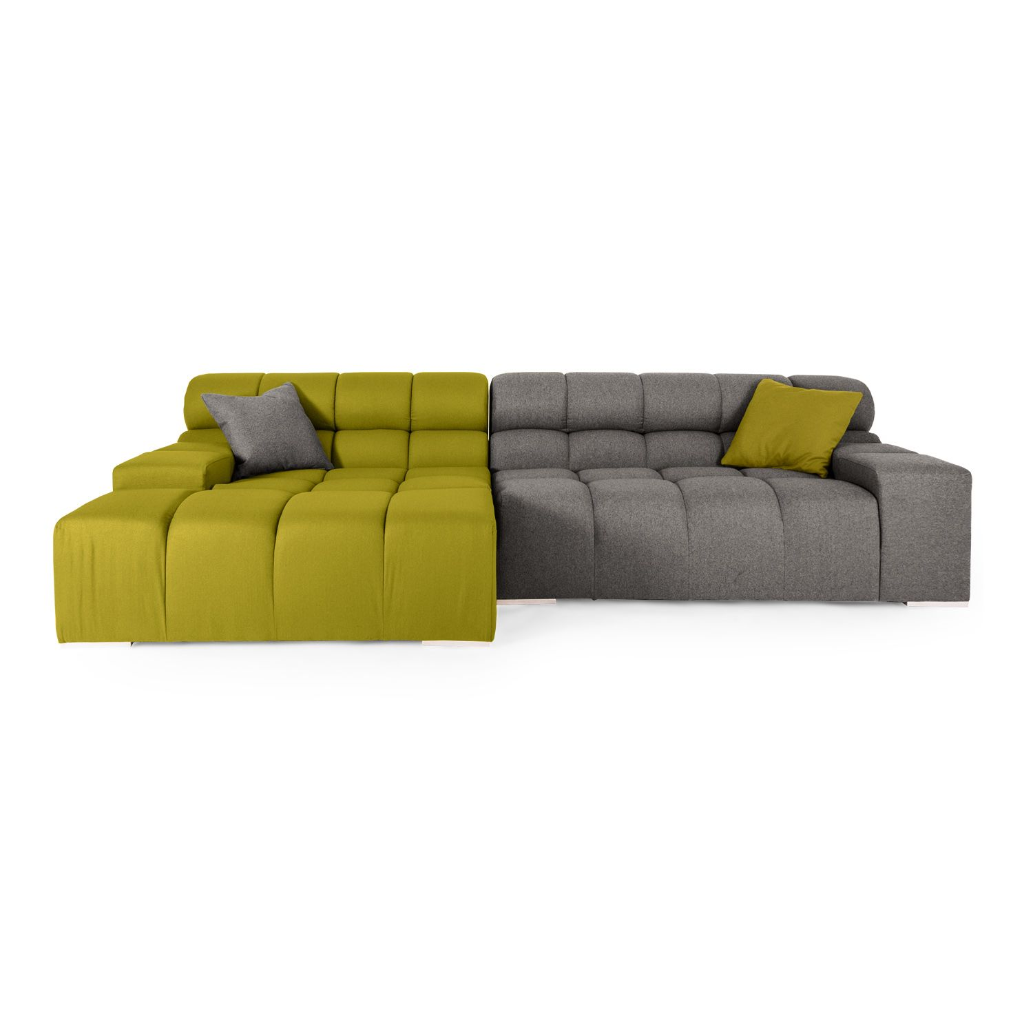 Cubix Modern Modular Sofa Sectional Left, Deco Moss/Cadet Grey |