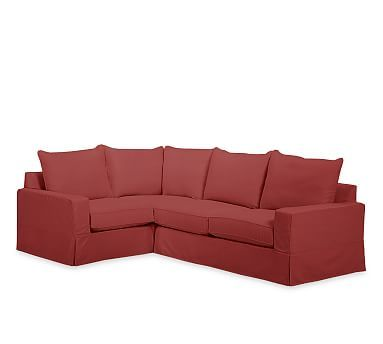 PB Comfort Square Arm Right Arm 3-Piece Corner Sectional Slipcover, Knife Edge, Twill Sierra Red
