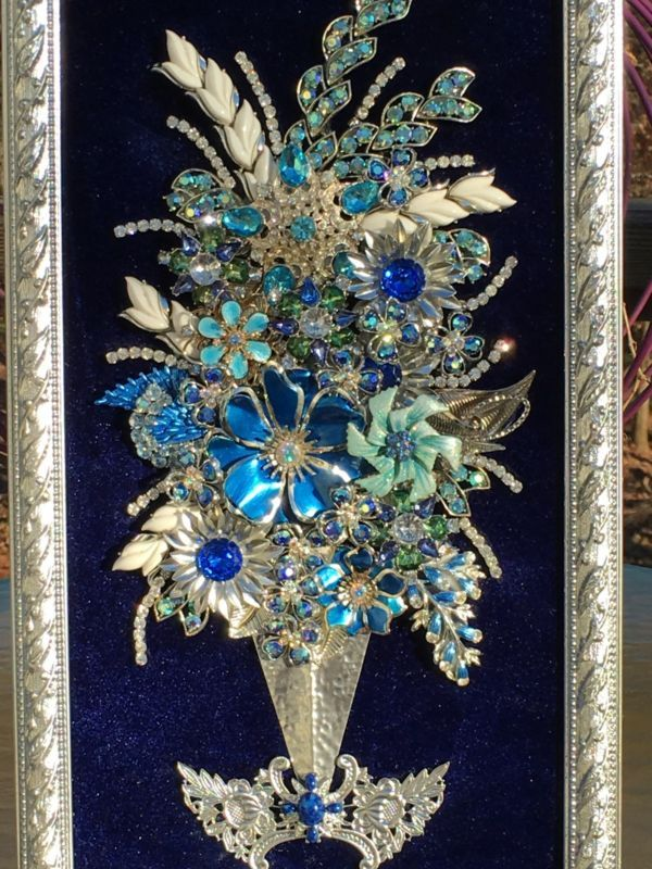 Vintage Rhinestone Jewelry Christmas Tree Framed Art