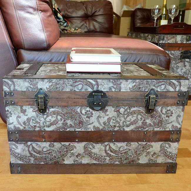 This Beautiful Wood Trunk Features Old Fashioned Hardware For An Antique Look Decorative Treasure