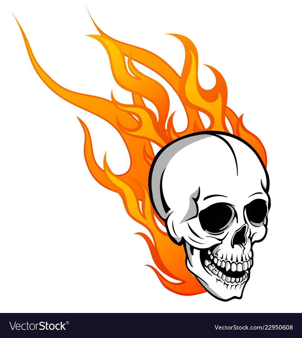 Skull On Fire With Flames Royalty Free Vector Image Drawing Flames Fire Drawing Line Art Drawings
