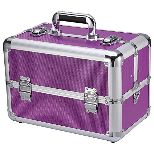 Best Makeup Bag   Ollieroo Makeup Train Case Professional 14 Large Make Up Artist Organizer Kit Shoulder Bag With Adjustable Dividers Key Lock Cosmetic Studio Box Designed To Fit All Cosmetics Purple ** Find out more about the great product at the image link. Note:It is Affiliate Link to Amazon.